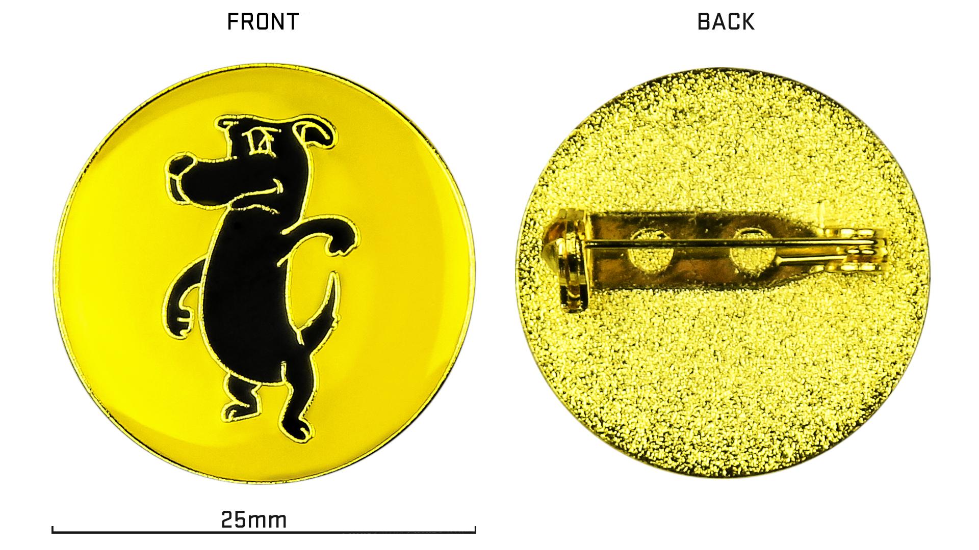 The badge is 25mm in diameter.